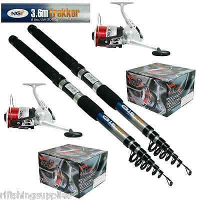 2 X Ngt 10ft Telescopic Fishing Rods Trekker + 2 X Silk 70 Sea Fishing Reels • 44.45£