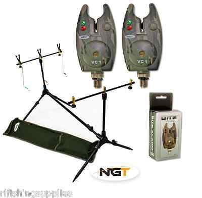 NGT Carp Fishing Rod Pod + Indicators Rests + 2 X Camo Bite Alarms + Batteries • 35.52£