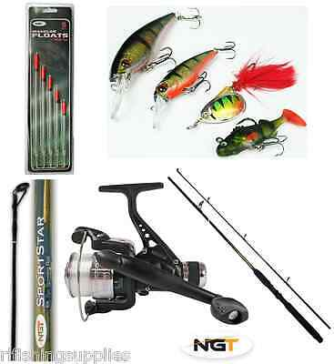 1 X 6FT 2 PIECE NGT  SPINNING ROD + 1 X FISHING REEL + LINE + SPINNERS + FLOATS • 35.36£