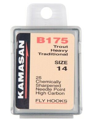 Kamasan B175 Trout Heavy Traditional Hooks Sizes 2 - 16 Down Eye 25 Pack Fly  • 3.99£