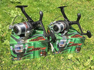 2 X JADE 30 CARP COARSE FLOAT FEEDER FISHING REELS 1BB REEL WITH 8LB LINE • 20.52£