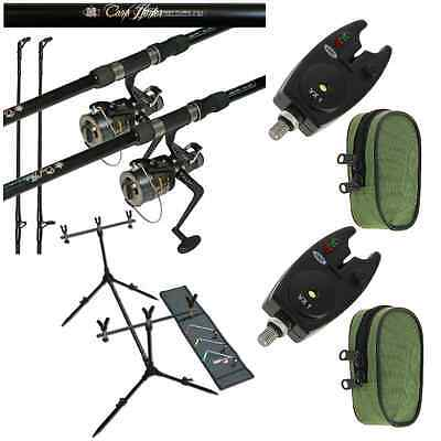Carp Fishing Set Up 2 X 12ft Carp Rods + 2 X Carp Reels + 2 X Bite Alarms + Pod • 103.45£