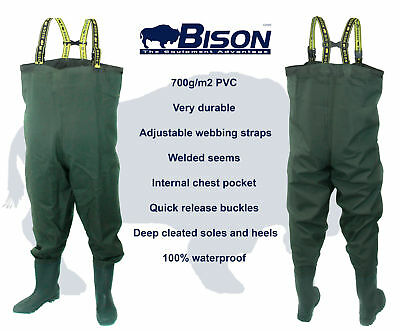 BISON HEAVY DUTY PVC / NYLON CHEST WADERS 700 Gr/ms SIZES 7 8 9 10 11 0R 12 • 34.99£