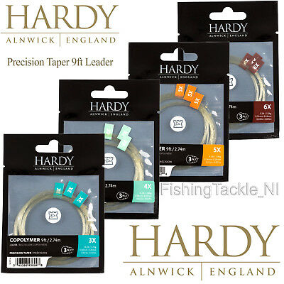 Hardy 3 Pack 9ft Copolymer Precision Tapered Leader 3lb - 8lb Fly Fishing Copo • 9.99£