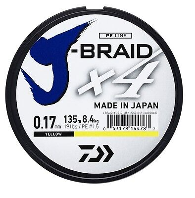 Daiwa J-Braid X4 Fishing Braid Dark Green/Yellow Japanese Line * 135m Spools * • 9.99£