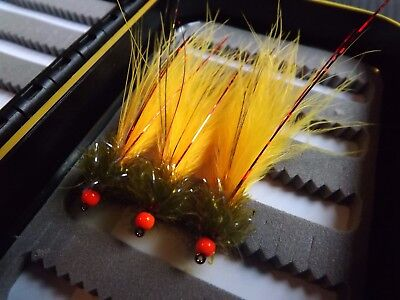 3x  Sunburst Ally Mcoist Fly Fishing Trout Flies Pulling Lures Size 10 • 3.40£