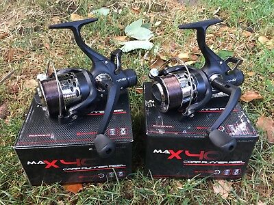 2 X Max 40 2 Bb Carp Runner Fishing Reels Loaded With 8lb Line Ngt Tackle • 34.95£