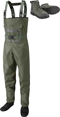 Leeda Stocking Foot Breathable Profil Fly Fishing Chest Waders With Wading Boots • 150.14£