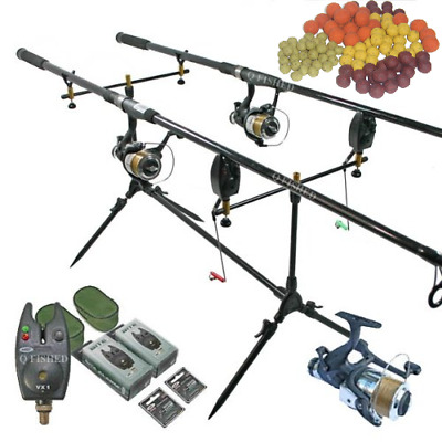 Full Carp Fishing Set Up 2 X Rods + 2 X Reels + Rod Pod + Alarms + Boilies • 129.95£
