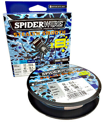 Spiderwire Stealth Smooth 8 Blue Camo Braid 150m + 300m Fishing Line 8 Carrier • 24.99£