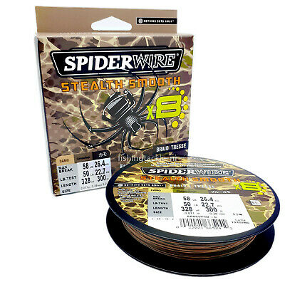 Spiderwire Stealth Smooth Camo-Braid 300m Carrier 8 Fishing Line 23lb - 75lb • 24.95£