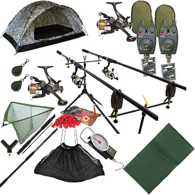 Full Carp Fishing 2 Rod Set Up - Rods Reels Alarms Net Mat Sling Camo Bivvy Set • 199.82£