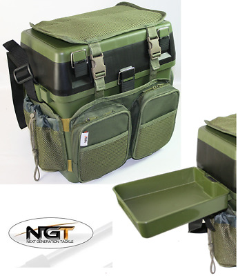 NGT Green Carp Sea Fishing Seat Box With Harness Rucksack Converter + Side Tray • 44.41£