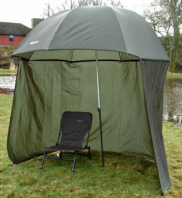 98  2.5m  BISON TOP TILT UMBRELLA BROLLY FISHING SHELTER WITH ZIP ON SIDES • 29.99£