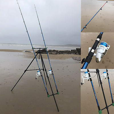 Deluxe Sea Fishing Set Up - 2 X 12ft Beachcaster Rods + Reels + Beach Pro Tripod • 119.95£