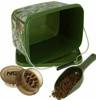 Carp Fishing Bait Boilie Crusher Grinder Chopper 5.L Bucket & Baiting Spoon Set • 11.95£