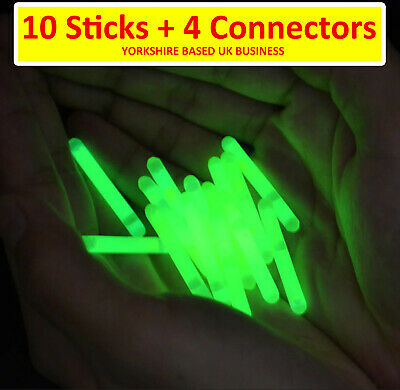 10 Glow Sticks Sea Coarse Carp Fishing Float Beachcaster Rod Tip Night Lights • 2.99£