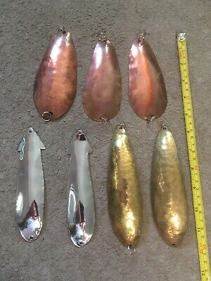 7 Large Copper, Brass And Stainless Pike Spoons.  • 14.99£