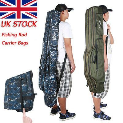 3 Layers Fishing Rod Carrier Canvas Pole Tools Storage Gear Tackle Bag Case UK • 22.59£