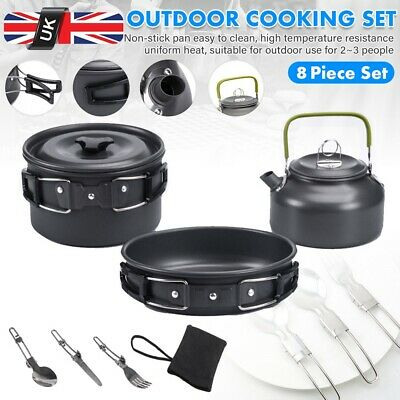 Camping Cookware Set Outdoor Cooking Pot Pan Kettle For Hiking Picnic Fishing UK • 19.99£