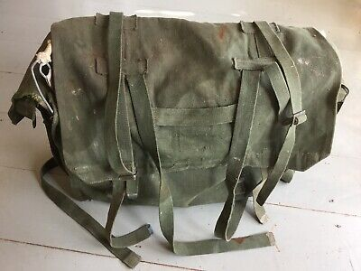 """Vintage Green Canvas Fishing Bag 16""""x13""""x5.5"""" Wire Framed Well Used • 29.99£"""