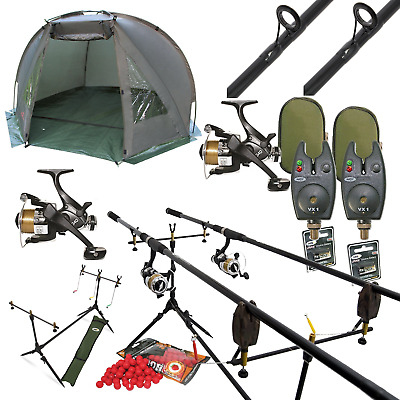 Full Carp Fishing 2 Rod Set Up With Day Bivvy Shelter - Rods Reels Pod Alarms • 129.95£