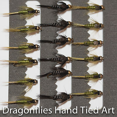 18 Gold Head Olive & Black Nymphs Trout Fly Fishing Flies  By Dragonflies • 6.63£