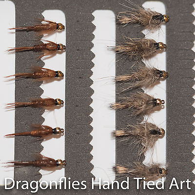 12 Gold Head Hares Ear & Pheasant Tail Nymphs Trout  Fishing Flies -Dragonflies • 5.58£