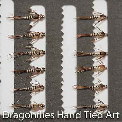 12 Gold Head & Standard Walkers Mayfly Nymphs Trout Fishing Flies Dragonflies • 5.58£