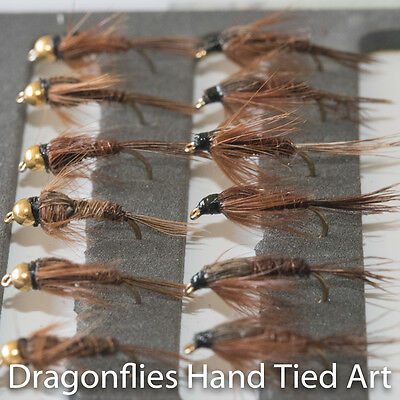 12 Gold Head & Standard Pheasant Tail Nymphs Trout Fishing Flies Dragonflies • 5.44£