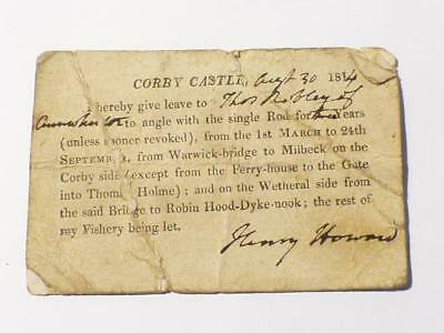 1814 Corby Castle Henry Howard Fishing Permit Licence Cumbria HENS TEETH #CCB • 490£