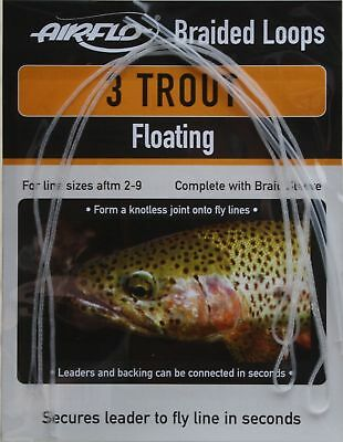 Airflo 3 Trout Braided Floating Loops Complete With Braid Sleeve Size 2-9 Lines • 3.95£