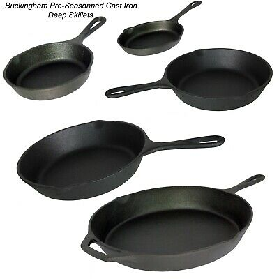 Buckingham Pre-Seasoned Cast Iron Skillet Frying Pan Griddle BBQ Premium Quality • 19.99£