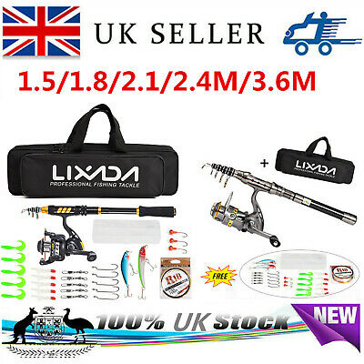 Telescopic Fishing Rod Reel Combo Full Kit Spinning Reel Pole Set With Fish Bag • 23.90£