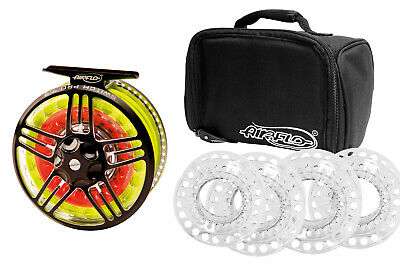 Airflo Switch Pro Fly Reel Sizes 4/6 And 7/9 + 5 Free Spare Spools & Reel Bag • 119.99£