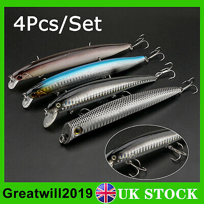 4Pcs/Set Fishing Lure Coarse Pike Lure Plug Popper Minnow Cod  Bass Mackerel • 8.99£
