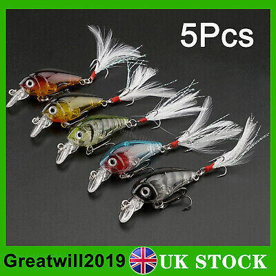 5X Snap Bean Light Fishing Lures Crank Bait Feather Hook Pike Salmon Trout Perch • 6.99£