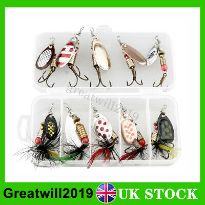 10 Pcs Spinners Fishing Lures Tackle Hooks Crankbait Sea Perch Salmon Pike Trout • 7.99£