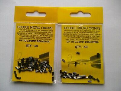 DOUBLE MICRO CRIMPS   PACK OF 50  -  0.70mm OR 0.90mm   PIKE / SEA FISHING • 3.49£