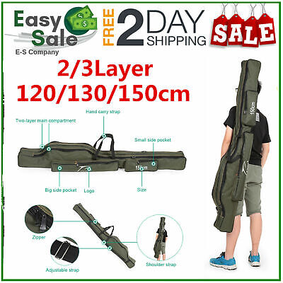 2/3Layer 120/130/150cm Folding Fishing Rod Bag Carrier Canvas Pole Tools Storage • 13.90£