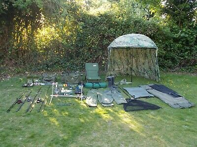 Carp Fishing Gear Full Set Up Job Lot Rods Reels Tackle Bait Alarms Bivvy Etc • 300£