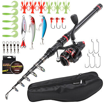 Blusea Fishing Rod And Reel Combo Carbon Fiber Telescopic Fishing Rod With R0C8 • 31.63£