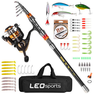 Fishing Rod And Reel Combo Carbon Fiber Telescopic Fishing Rod With A8C5 • 28.26£