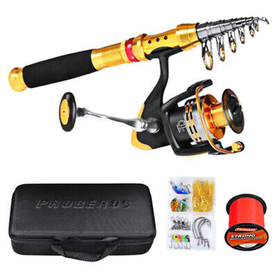 HOT Complete Fishing Kit Sea Rod Spinning Reel Nylon Line Lure Tackle Set 2020 • 43.97£