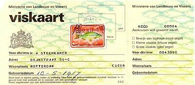The Netherlands - 1977 Fishing Permit - 1977/78 Fish Stamp Date Stamp 22.iv.77 • 0.99£