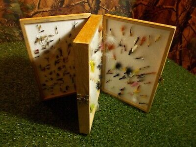 Wooden Two Tier Fly Box Full Of Fishing Flies Nr2 FISHING SET UP • 29.99£
