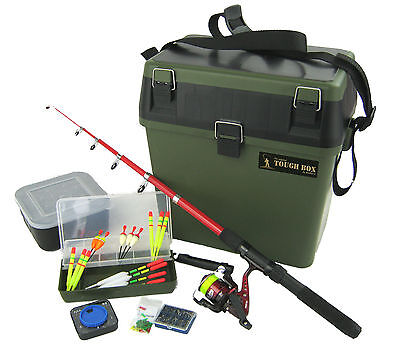 Complete Junior Beginners Fishing Kit & Tackle Seat Box Set Everything You Need! • 42.99£