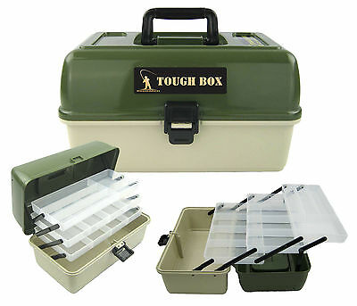 Large Fishing Tackle Box 3 Tray Cantilever 'tough Box' Sea Coarse Game Fishing • 16.99£
