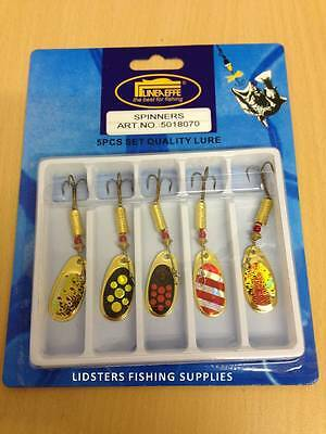 5 X Lineaeffe Size 3 7g Assorted Trout Fishing Spinners Lures 8070 Gold Red  • 11.29£