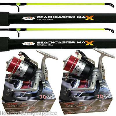 2 X New 12ft 2pc NGT Beachcaster Sea Fishing Rods + 2 Lineaeffe Silk 70 Reels  • 81.15£